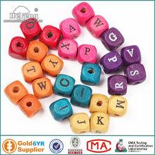 wood alphabet beads / wood letter cubes