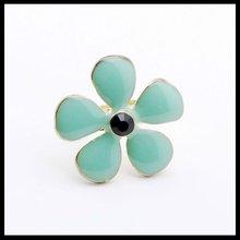 2014 fashion design lovely turquoise colored enamel flower ring