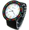 BLACK Super Size Rainbow Crystal Bezel Geneva Stretch Band WATCH