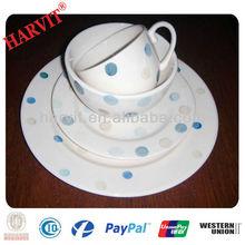 16pcs ceramic tableware with blue polka dot