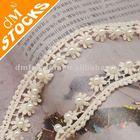 2014 Wholesale stock 2cm fashion 100% cotton pearl trim lace for clothes (C03P)