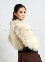 Women Beige Color Knitted Raccoon Dog Fur and Rex Rabbit Fur Coat