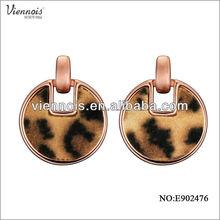 2015 Fashion Ladies imitation leopard round Earring