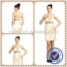 2013 High Class Beaded & Pleat High Waistline Deep V-neck Short Cocktail Dress MY-12076