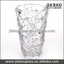 Flower Shaped Glass Vase & Decoration Flower Tall Vase & Rose Carved Table Glass Vase & Glassware