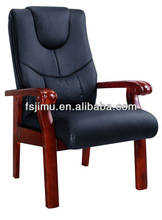 Top quality synthetic leather conference chair/ oak wood office chair
