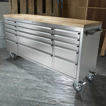 72 Inch 15 Drawer Stainless Steel Tool Chest with Fine Wooden Top