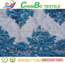 2014 new style azul frisada tecido bordado em tull tecido para vestido de noiva