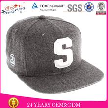 Black 6 panel custom embroidery logo baseball snapback cap