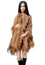 CX-B-P-01B Mongolian Lamb Fur Trim Cashmere Fur Cape