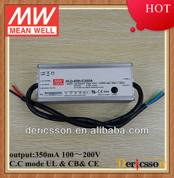 MEAN WELL 210mA~350mA Constant Current Led Driver 100V~200V 70W LED Driver PFC UL CE CB HLG-60H-C350A