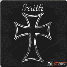 28B023 Crystal faith cross custom-made hotfix motif