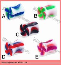 Acrylic saddle piercing ear gauge plug fashion body jewelry manufacturer with colorful kite