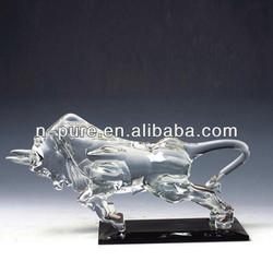 Crystal Glass Bull Figurine for Desktop