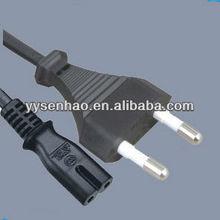 Korea ac power cord plug with IEC320 c7 female connector