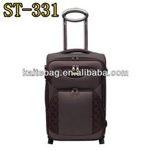 Twill nylon fabric aluminium trolley 2 piece set rolling luggage & carry on set on wheels