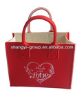 (HD-11A)Red wicker heart decoration shopping gift basket