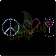 Crystal Peace Love Wine Rhinestone Heat Transfers For T-shirt
