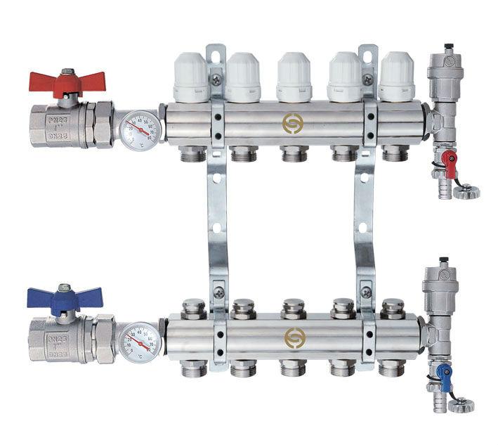 Way stainless steel water manifold for underfloor