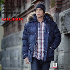 2014 fashion design men down jacket with raccoon