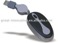 2.0 usb mini retractable optical mouse