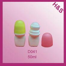 D041 50ml round PE deodorant roll on plastic bottle