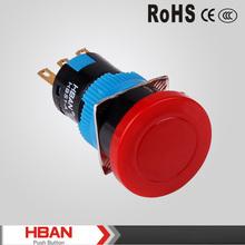 Hot sale waterproof , Mushroom head , red plastic ,emergency push button switch(16mm)