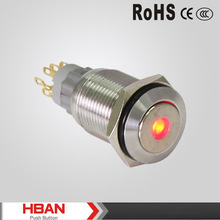 Stainless steel ,Nickel-plated brass,Momentary,Latching,Flat head,Dot illuminated, metal push button (16mm)