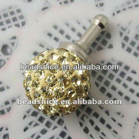 Beadsnice 3.5mm Earphone Ear Cap Dock Dust Plug rhinestones:12mm ID:22712 anti dust plug for phones