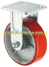 Heavy Duty Iron Core Polyurethane Fixed Industrial hard rubber caster wheel