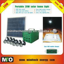 dc solar home lighting kit with 6 led bulbs and mobile charger