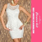 New model white half lace new design lady casual dress