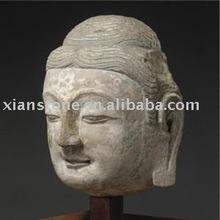 Stone antique buddha face statue