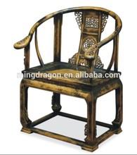 اليد الصلبة الخشب المحفور الجملة العتيقة ذراع الكرسي الأسود