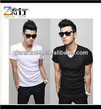 2014 Fashion V-Neck Mens Plain White T-Shirts