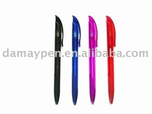 retractable plastic ball pen with clip
