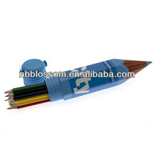 color pencil with plastic case,huge pencil shape case,Pencil Shaped Plastic Case With Printed Wrapper