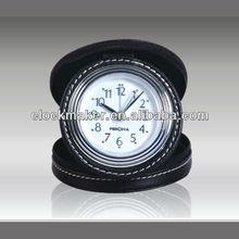 High Quality Quartz leather Cheap Travel Alarm Clock For Promotion