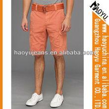 Fashion wholesale cheap orange outdoor men denim shorts with belts (HYMS132)