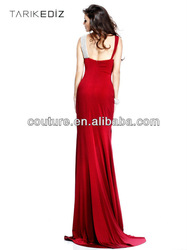 Latest ED358 Top quality sheath v-neck beaded pearls ruffles chiffon red front split backless evening dress design photos 2014