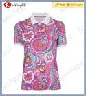 Custom high quality fashion lady's sublimation printed polo t shirt