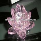Pink Glass Crystal Lotus Flower
