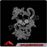 Beautiful Hotfix Rhinestone Motif Tattoo skull snakes