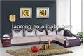 Forma de l de madeira sofá estofado para quarto de hotel/sala de estar sofá de madeira com almofada macia so-2013-07