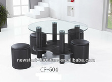 Modern Living Room Furniture Round Coffee Table with 4 Stool