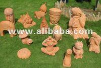 Terracotta statues - Terra Cotta animals - Buddha face - Accessories - Home & garden decoration