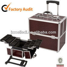 MLD-TC78 Brown crocodile embossed leather trolley box make up travel cosmetic tools storage flight case