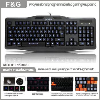 New Cool Multimedia Illuminated Ergonomic LED BackLight USB Wired Gaming Keyboard for computer,LED backlit gaming keyboard