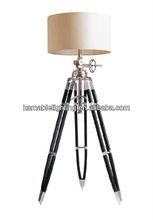 Hot sell wood and aluminium base tripod floor lamps
