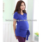 Royal blue maternity wrap top wholesale office ladies working clothing BK030